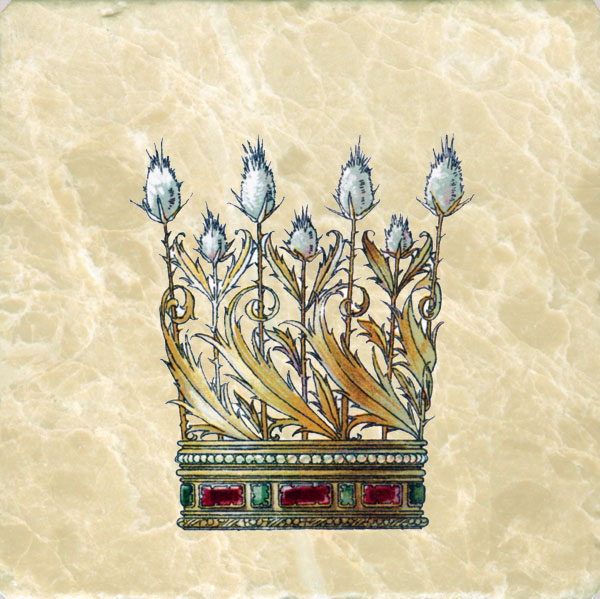 Art Nouveau Crowns Tile Set Medieval Flowers Amp Feathers