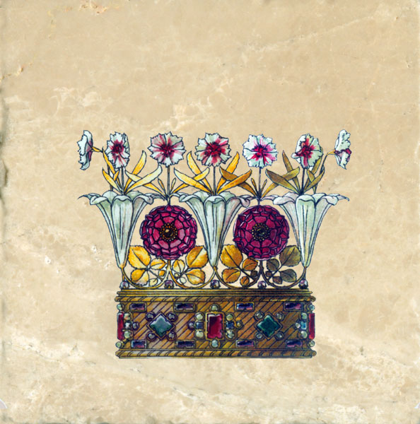Trumpet Vine and Windflowers Crown from Flowers and Feathers Medieval Crowns tile set, Anton Seder