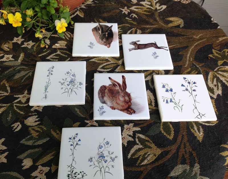 Medieval Hares and Victorian Botanical tiles. Hares by Albrect Durer and Hans Hoffmann