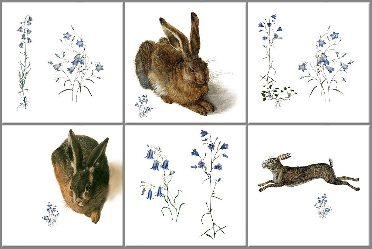 Hares and Harebell tiles.