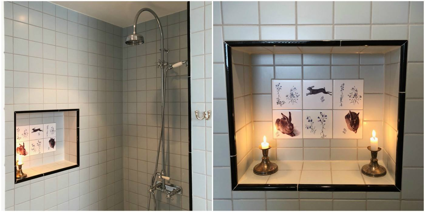 Medieval Hares and Victorian Botanical tiles. Shower grotto installation in Jonstorp, Sweden