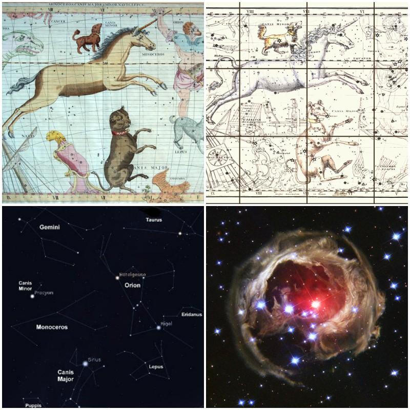 From top left: Flamstead Monoceros, Jamieson Monoceros, Monoceros constellation, Star V838
