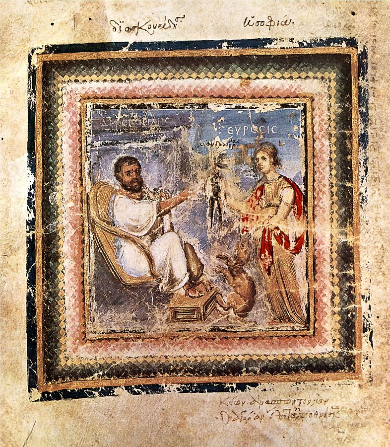 Pedanius Dioscorides being given a mandrake root, from an illustration in the Juliana Codex 512 A.D.