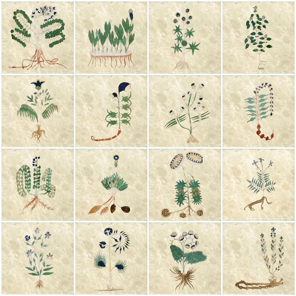 Voynich Manuscript tiles, predominantly blues.