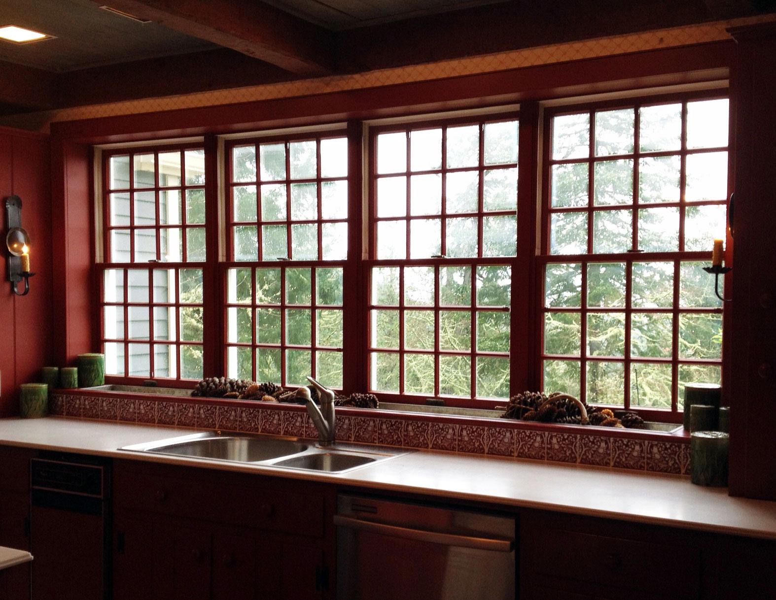 William Morris Brother Rabbit bird tiles under a sunny window in Eugene, Oregon kitchen