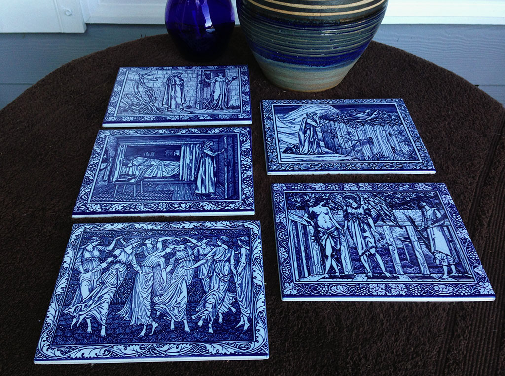 Kelmscott Chaucer tiles in cobalt and white