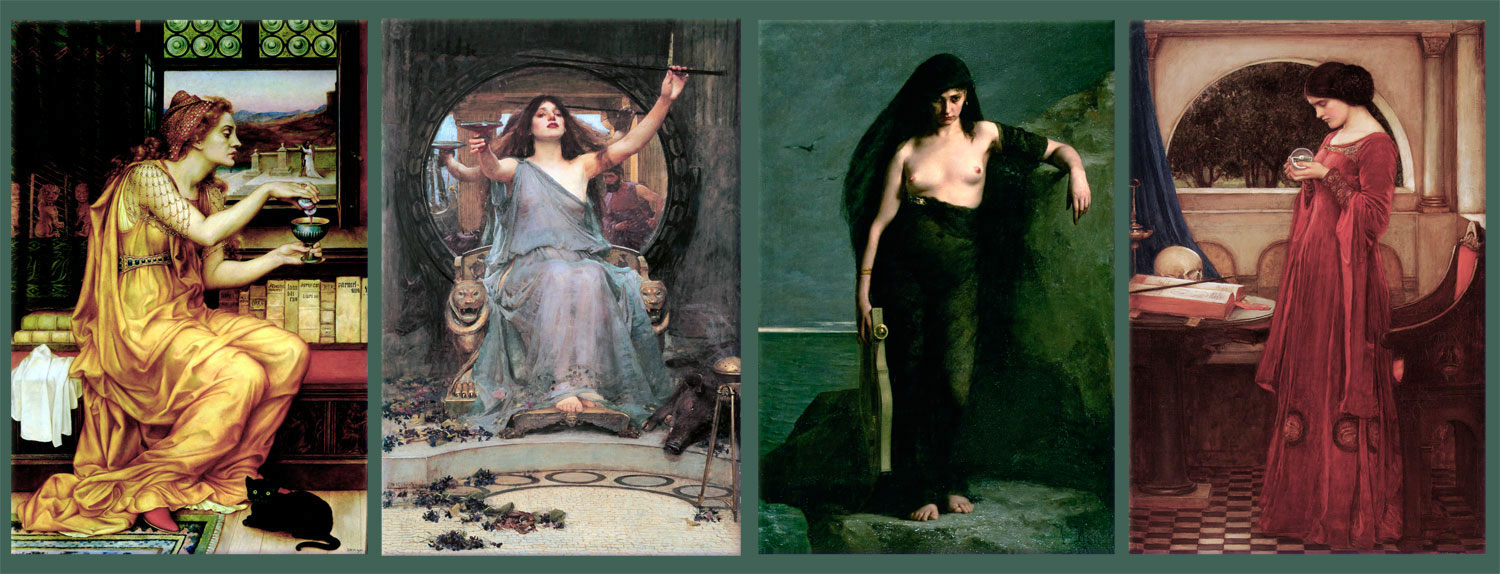 From left: Evelyn De Morgan, The Potion; Waterhouse, Circe Summoning Ulysses Over the Waters; Charles Megnin, Sappho; John William Waterhouse, The Crystal Ball