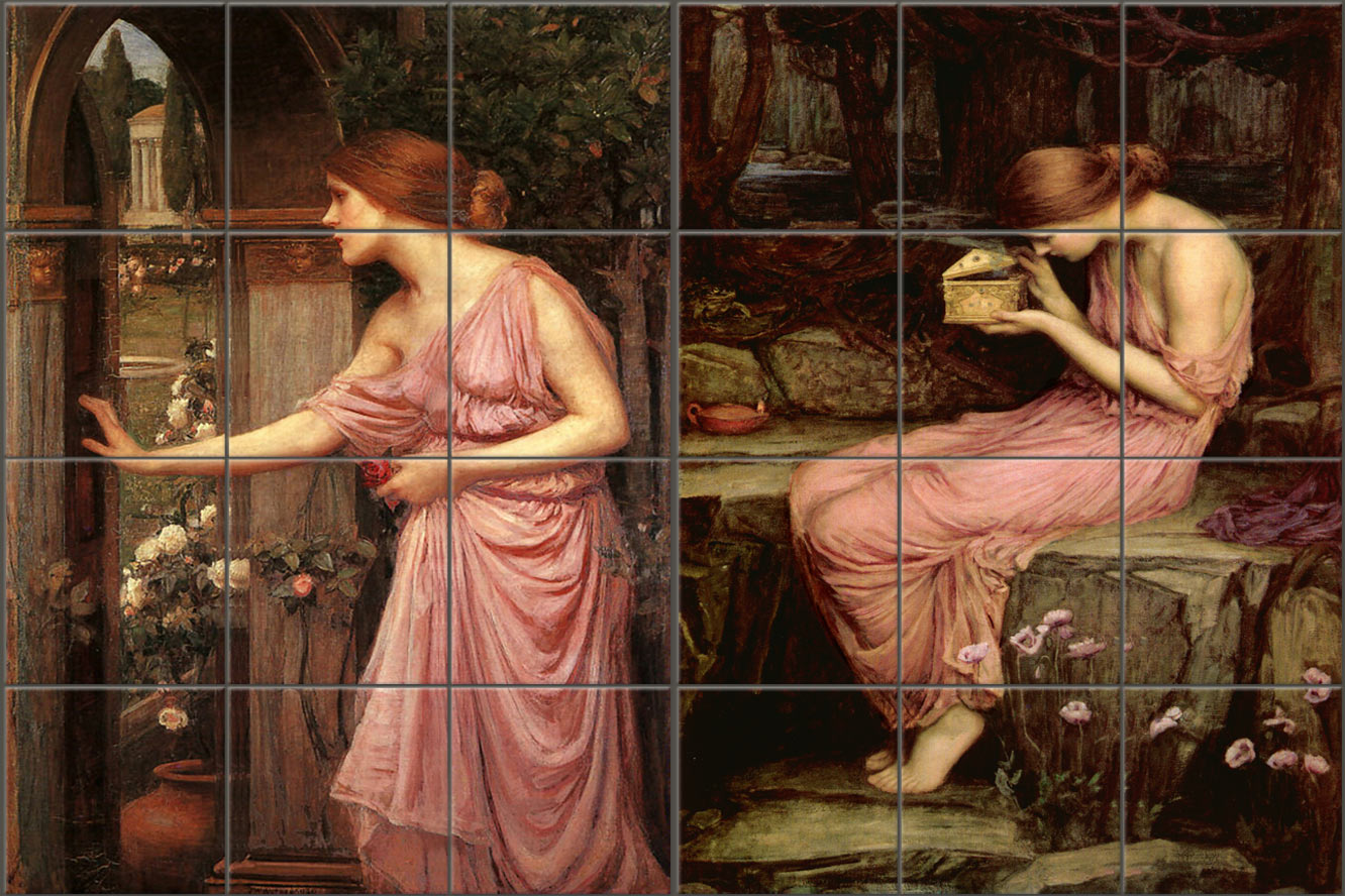 Psyche Art Tile Murals based on John William Waterhouse