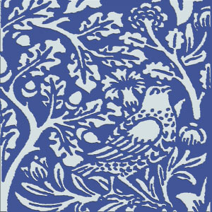 William Morris Brother Rabbit Tile on Victorian Blue