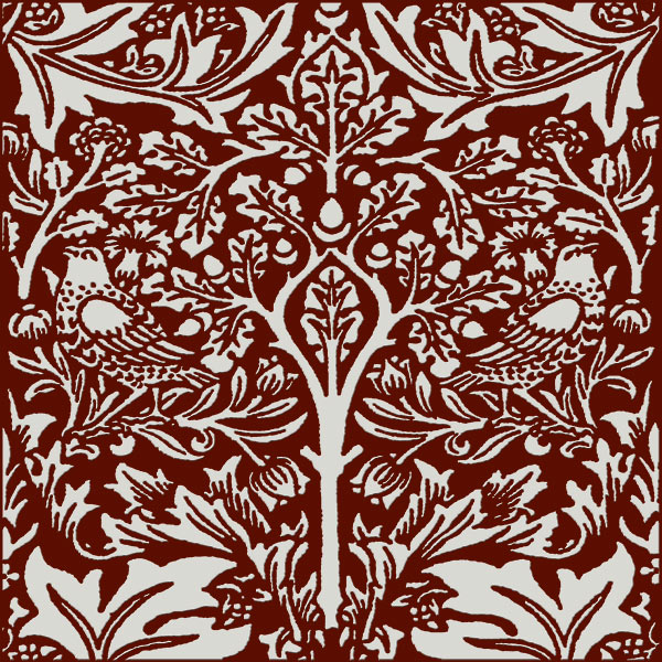 William Morris Brother Rabbit Tile on Dragon's Blood