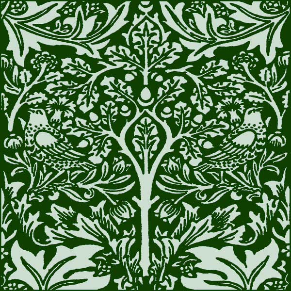 William Morris Brother Rabbit Tile on Forest Green