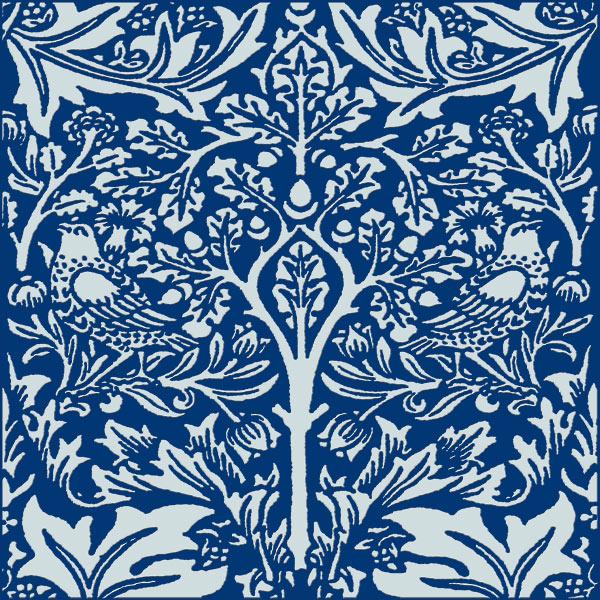 William Morris Brother Rabbit Tile on Indigo