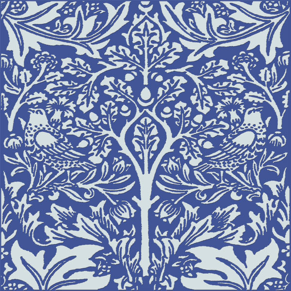 William Morris Brother Rabbit Tile on Victorian Blue