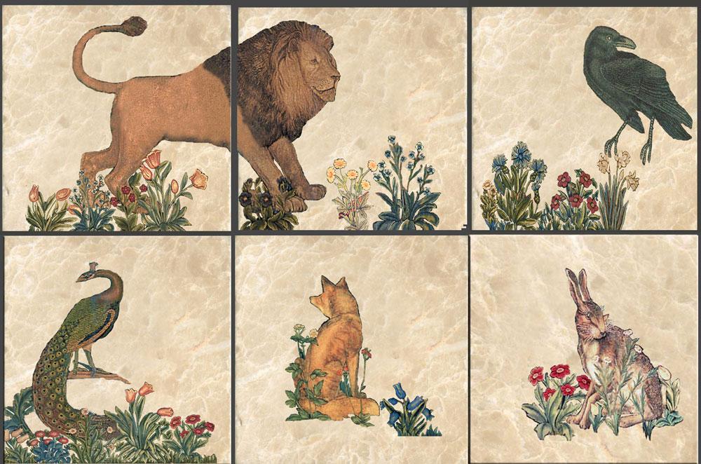 William Morris and Philip Webb Forst Animals on marble tiles. William Morris Tile