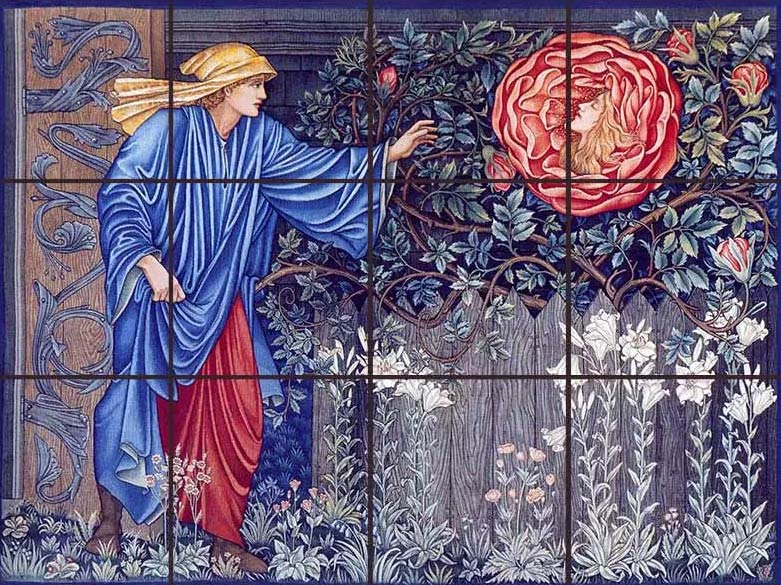 Edward Burne-Jones Heart of the Rose tapestry tile mural
