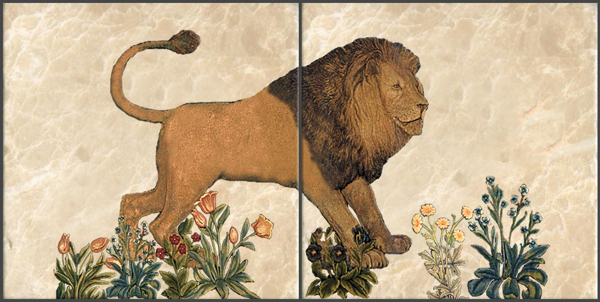 Lion tile, based on William Morris 'The Forest' tapestry