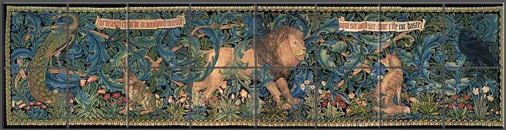 William Morris, 					The Forest Tapestry undercabinet backsplash