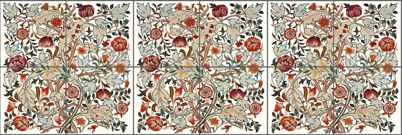 May Morris Acanthus undercabinet tiles