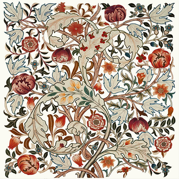 William Morris Acanthus embroidery, based on a Morris and Co. design, implementation by May Morris