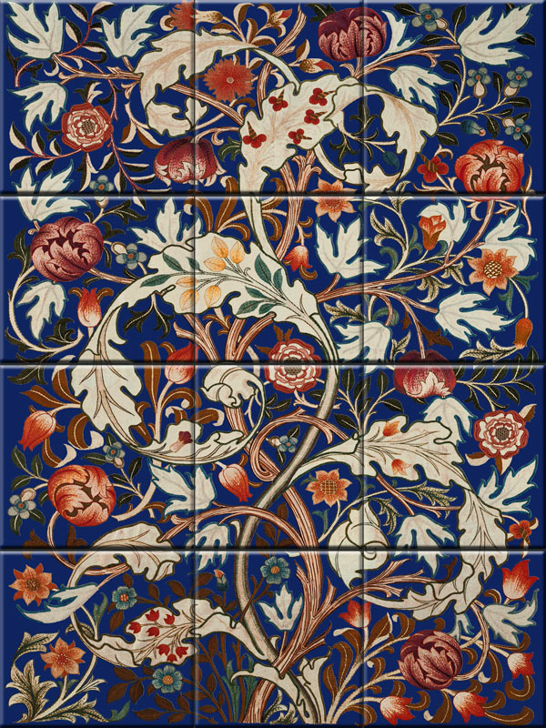 William Morris Acanthus 12-tile backsplash, based on a Morris and Co. design, supervised by May Morris