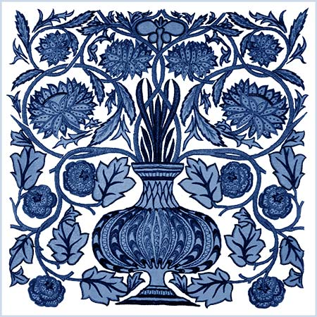 May Morris Blue and White Flower Pot Tile.