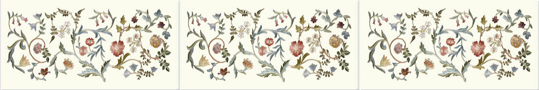 May Morris Garden Piece border tiles: 6 x 3 inch ceramic tiles from williammorristile.com