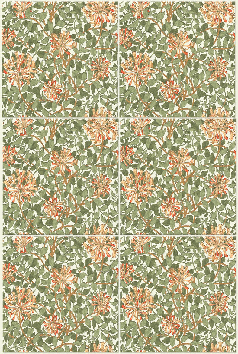 May Morris honeysuckle tile. Seamless tile in both directions.