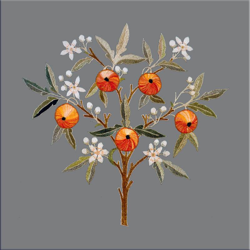 May Morris Orange Tree tile, Graybackground