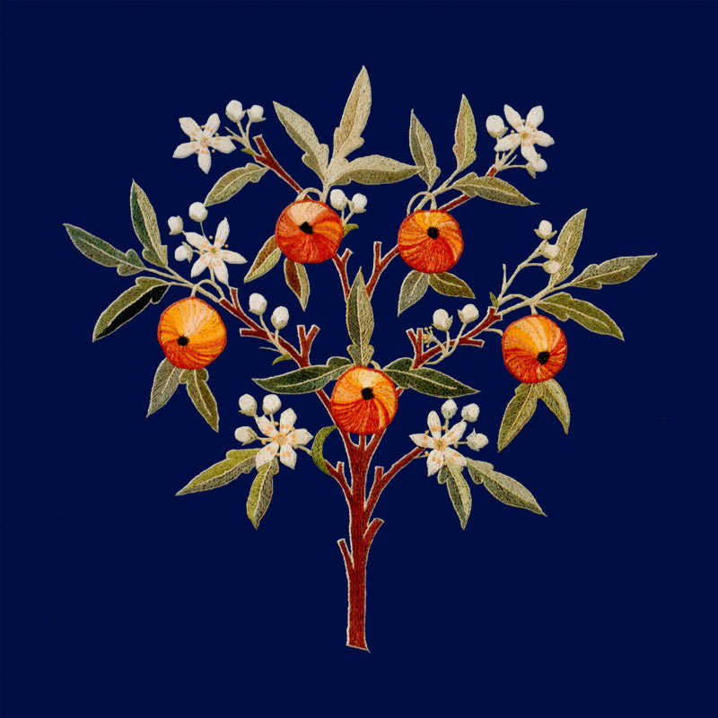 May Morris Orange Tree tile, Indigo background