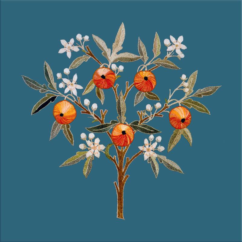 May Morris, Orange Treetile, Teal background