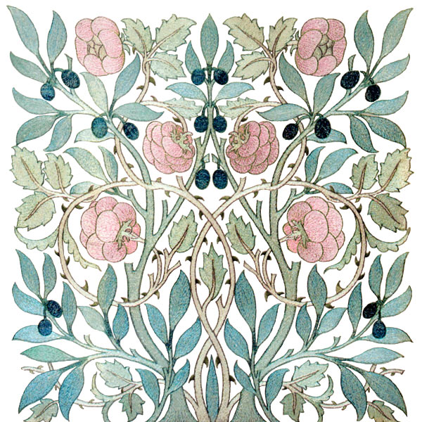 William and May Morris Olive and Rose tile, Pink on white background