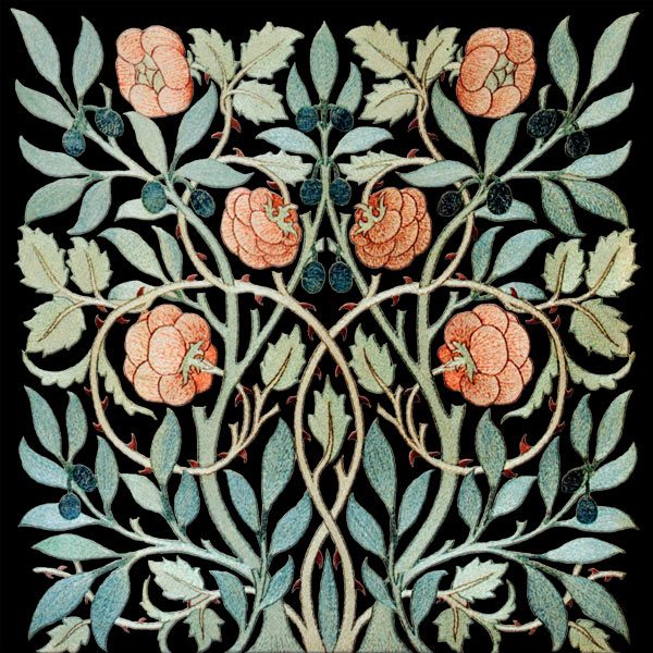 William and May Morris Olive and Rose tile, Tangerine on black background