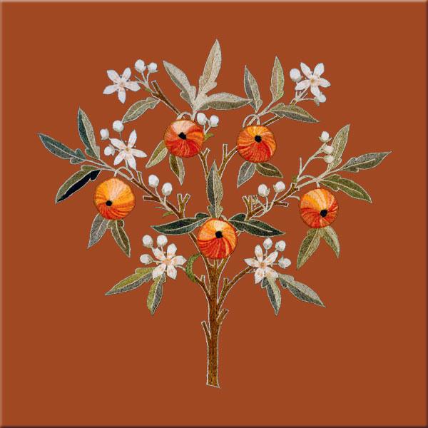 May Morris Orange Tree tile, Terra Cotta background