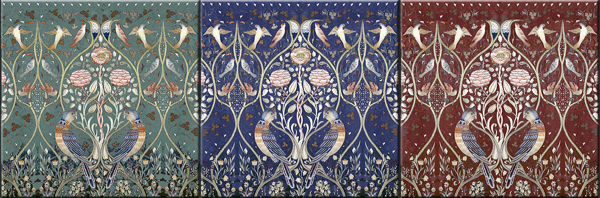 Ceramic tiles based on May Morris 'Spring and Summer' bedcover, 1895