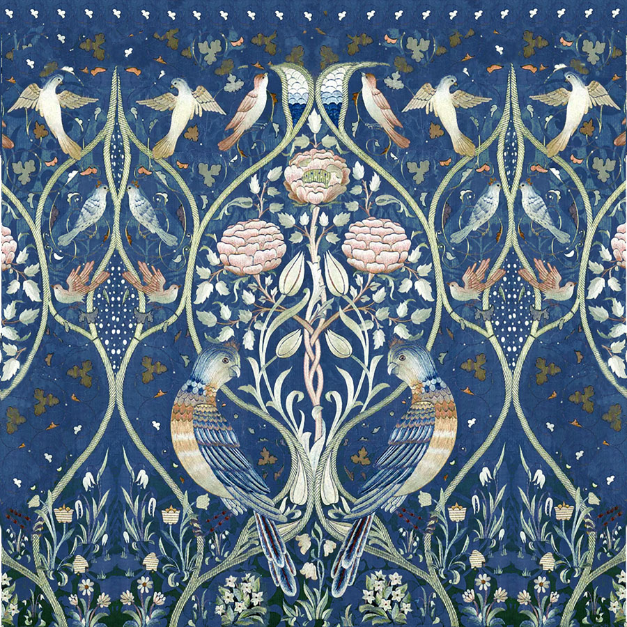 Cermaic tile based on May Morris 'Spring and Summer' bedcover