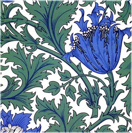 William Morris Anemone tile, violet