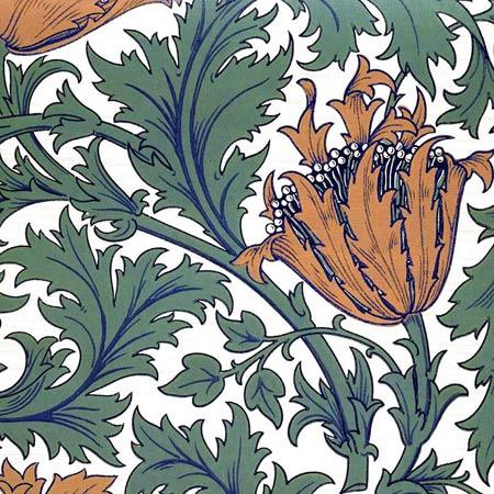 William Morris Anemone tile, tangerine