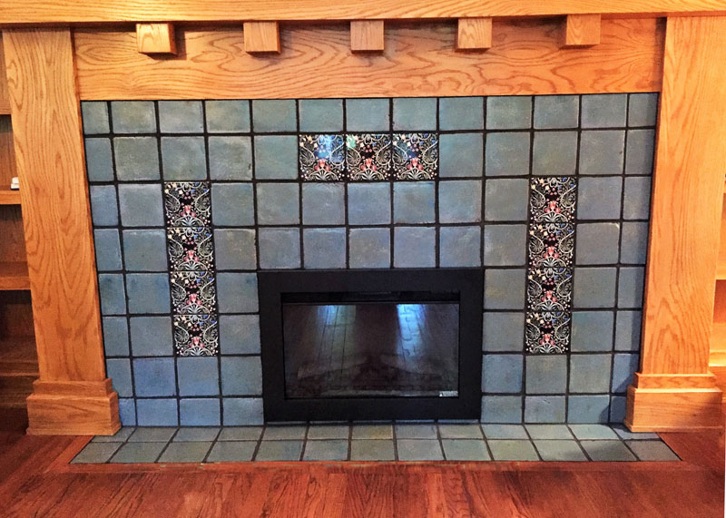 Arts and Crafts fireplace with William Morris Woodland Weeds accent tiles