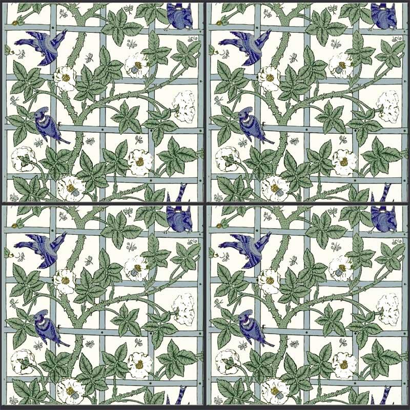 William Morris Trellis: Brother Rabbit And Bird And Trellis: Tiles From Textiles