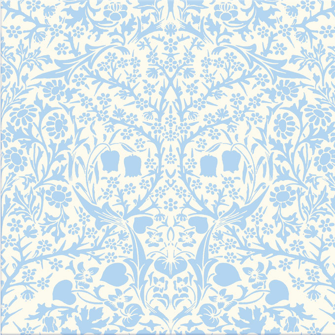William Morris Blackthorn, blue on cream background