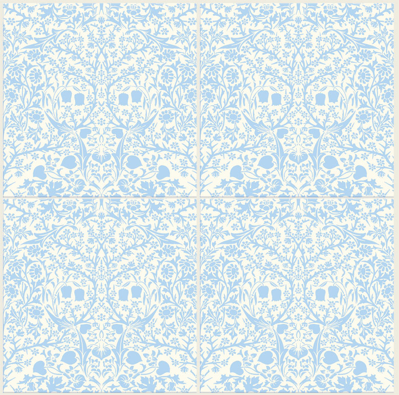 William Morris Blackthorn tiles, blue on cream background