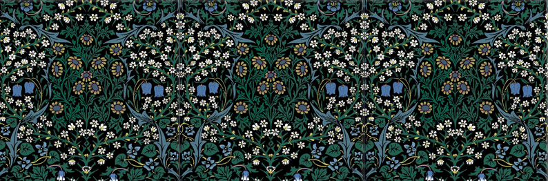 William Morris Co. Blackthorn blue flowers with *stars*