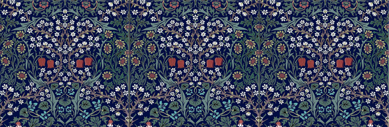 William Morris Co. Blackthorn wine red flowers with *face*