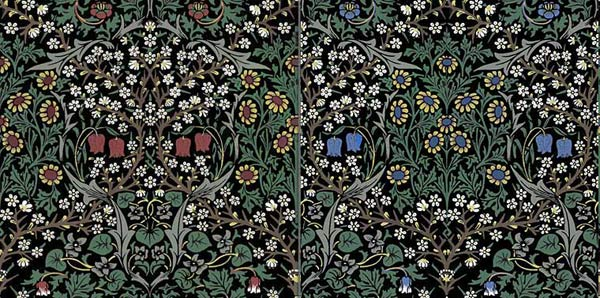 William Morris Blackthorn tiles.  Also available in star configuration and with blue, yellow, or wine wine red flowers.