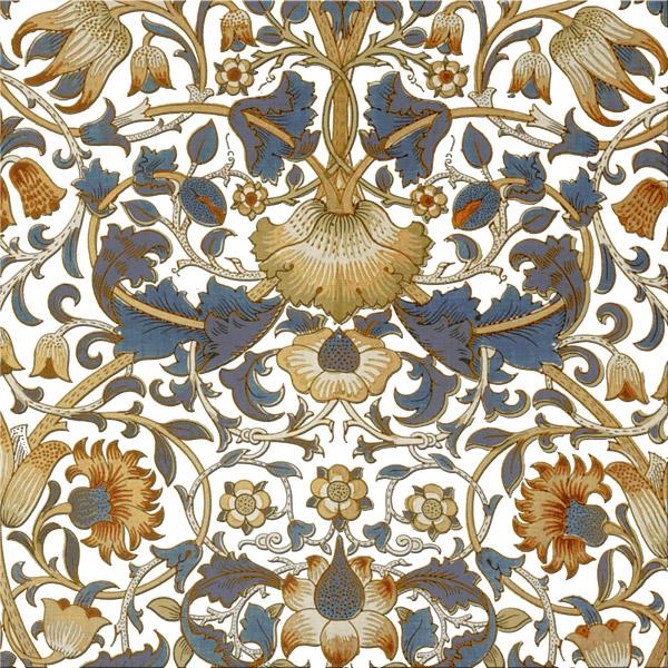 William Morris Lodden Tile, blue and gold variation WilliamMorrisTile.com