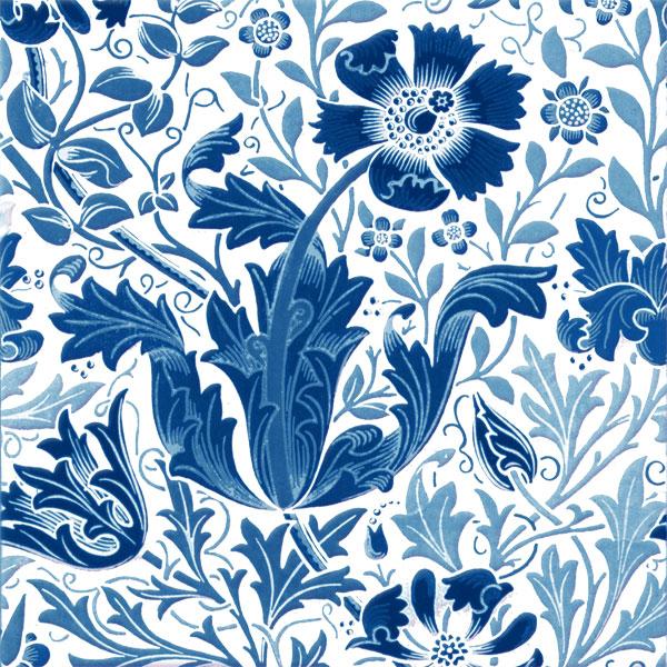 William Morris Compton Tiles, Blue Compton