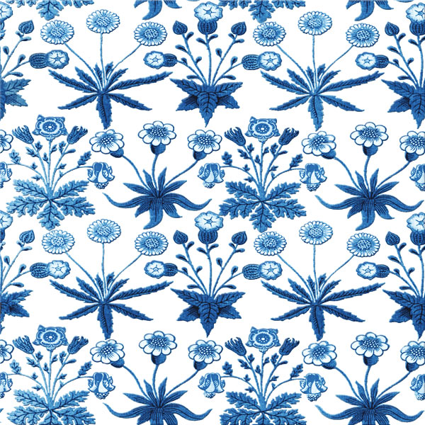 Blue and White Woodblock daisy