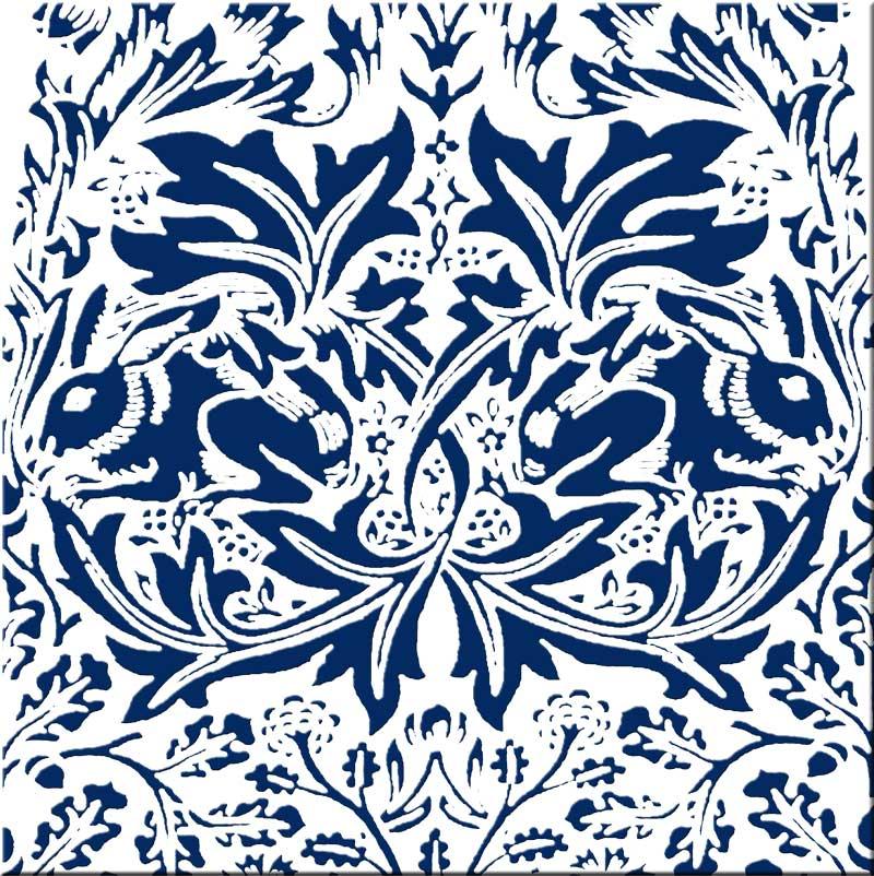 William Morris Brer Rabbit Tile - brick colorway