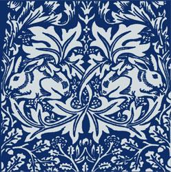 William Morris Brother Rabbit Tile - violet blue background