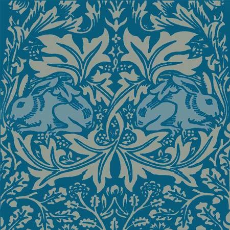 William Morris Brer Rabbit tile, tricolor